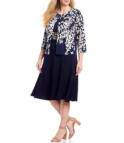 Jessica Howard Plus Size Matte Jersey Ruched Waist Floral Print 2-Piece Jacket Dress