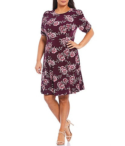 Jessica Howard Plus Size Puff Elbow Sleeve Floral Print Jersey Dress