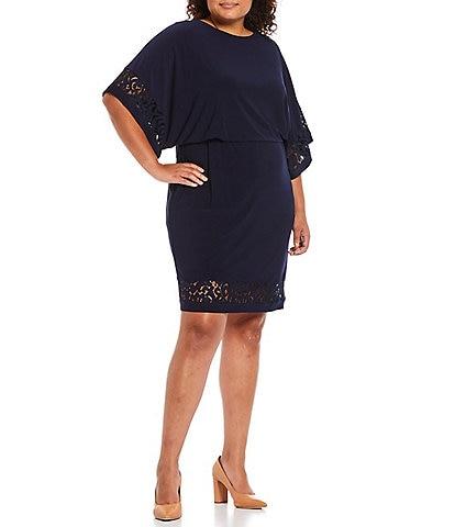 Jessica Howard Plus Size Round Neck 3/4 Sleeve Lace Blouson Dress