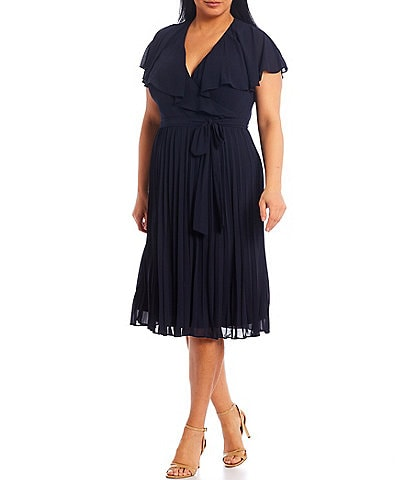 Jessica Howard Plus Size Short Sleeve Accordion Pleat Skirt Faux Wrap Dress