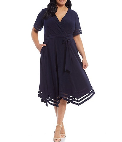 Jessica Howard Plus Size Short Sleeve Handkerchief Hem Illusion Band Dress