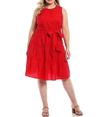 Jessica Howard Plus Size Sleeveless Belted Tiered Dress
