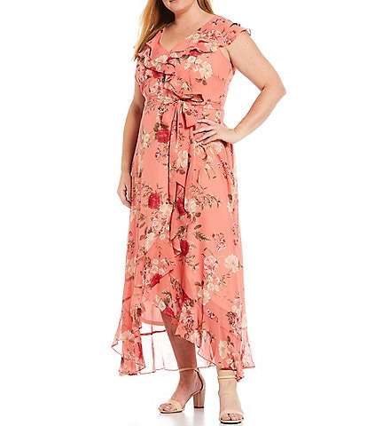Jessica Howard Plus Size Sleeveless Ruffle Wrap Hi-Low Maxi Dress