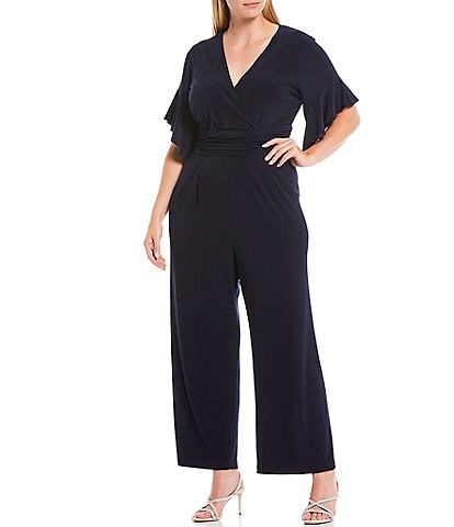 Jessica Howard Plus Size Surplice V-Neck Butterfly Sleeve Ruched Waist Jumpsuit