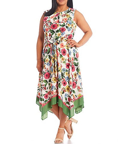 Jessica Howard Plus Size Tie Waist Printed Floral Dress