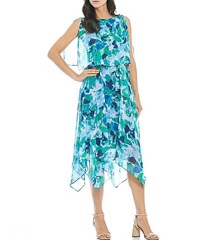 Jessica Howard Popover Sleeveless Boat Neck Belted Watercolor Floral Chiffon Dress