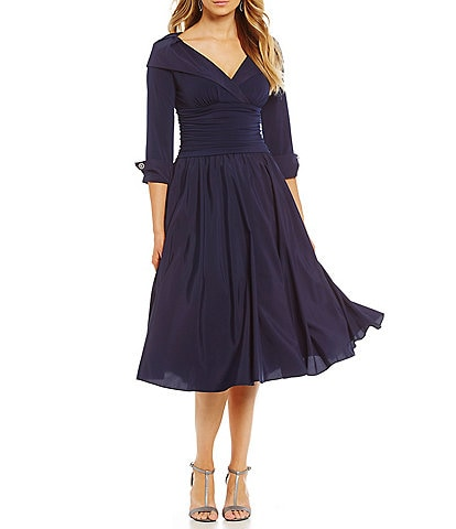 Jessica Howard Portrait Collar A-Line Midi Dress