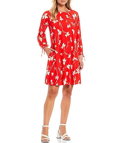 Jessica Howard Printed Crew Neck Long Sleeve Trapeze Tie Cuff Dress