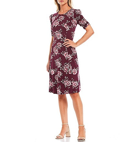 Jessica Howard Puff Elbow Sleeve Floral A-Line Dress