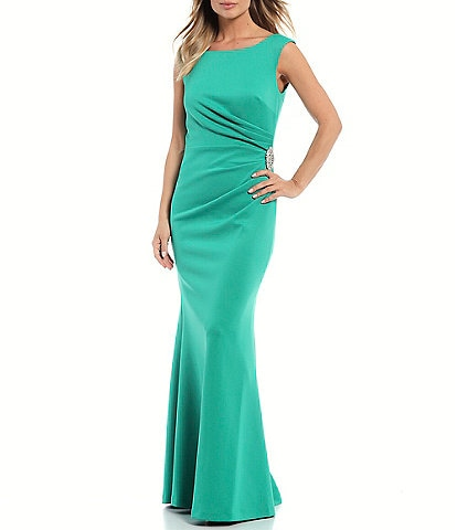Jessica Howard Ruched Waist Boat Neck Sleeveless Scuba Gown