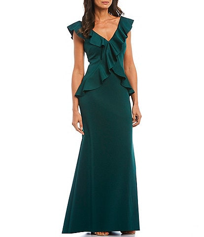 Jessica Howard Ruffle Bodice Sleeveless Gown