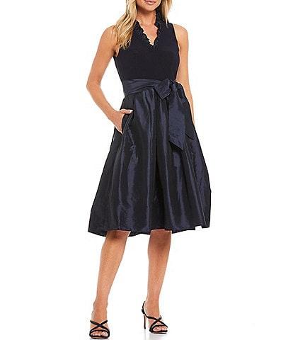 Jessica Howard Ruffle V-Neck Sleeveless Pleated Fit and Flare Dress