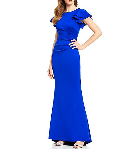 Jessica Howard Ruffle Sleeve Side Tuck Long Stretch Gown