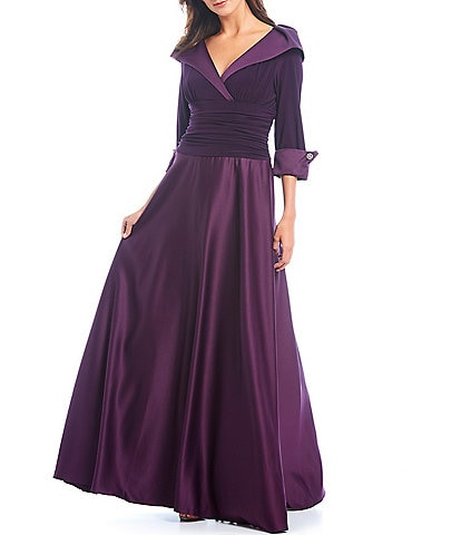 Jessica Howard Satin Portrait Collar Ballgown