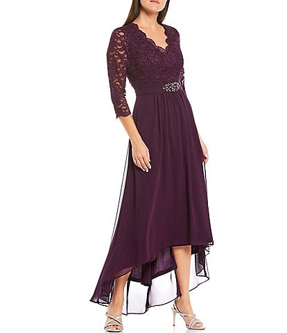Jessica Howard Scallop Neck Trim 3/4 Sleeve Beaded Waist Detail Lace V-Neck Gown