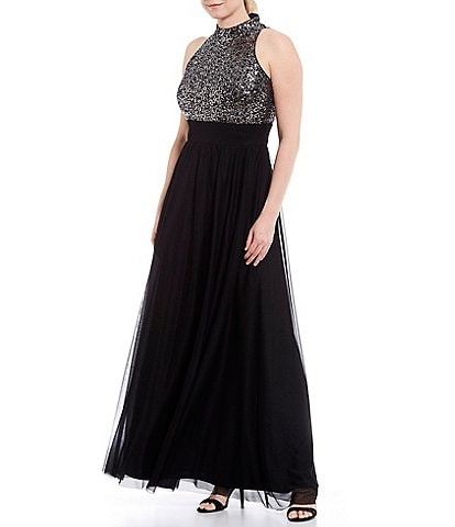 Jessica Howard Sequin Bodice Halter Sleeveless Gown