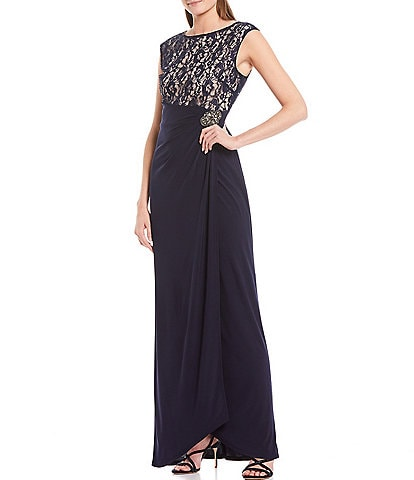 Ignite Evenings Sequin Lace Sleeveless Glitter Embellished Dress