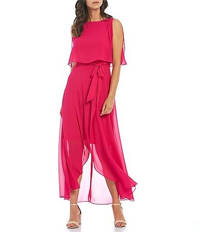 Jessica Howard Sleeveless Hi-Low Belted Popover Dress