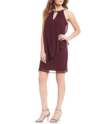 Jessica Howard Sleeveless Keyhole Neck Beaded Neckline Chiffon Dress