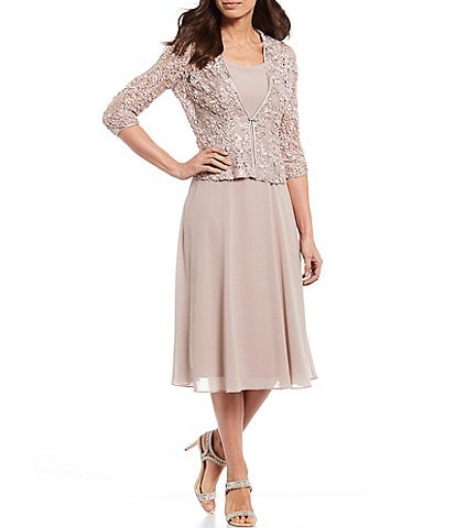 Jessica Howard Soutache Lace and Chiffon Midi Length 2-Piece Jacket Dress