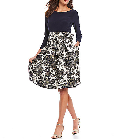 Jessica Howard Stretch Jacquard Floral Print Tie Waist A-Line Party Dress