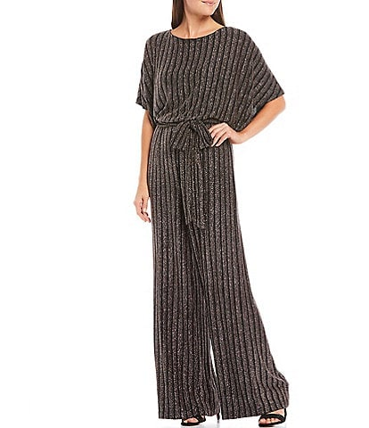 Jessica Howard Striped Metallic Dolman Sleeve Blouson Tie Waist Jumpsuit