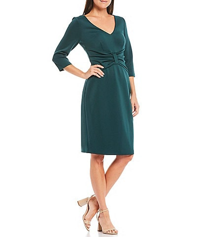 Jessica Howard V-Neck 3/4 Sleeve Ruched Waist Detail Scuba Sheath Dress