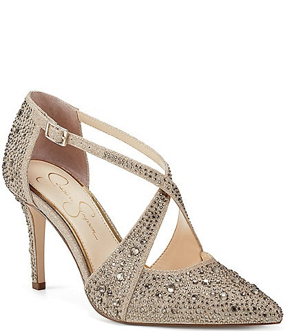 Jessica Simpson Accile Glitter Jewel Embellished Stiletto Pumps