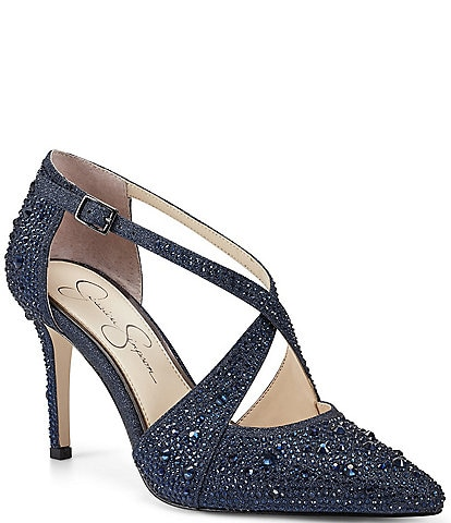 Jessica Simpson Accile Glitter Jewel Embellished Stiletto Pumps