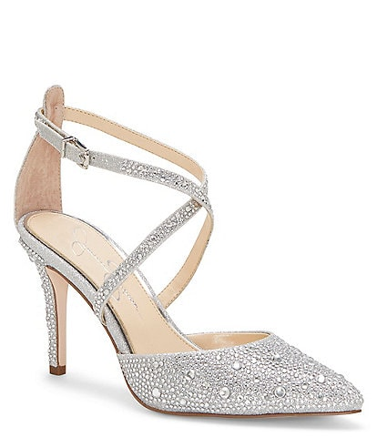 Jessica Simpson Ambrie2 Glitter Jewel Embellished Stiletto Pumps