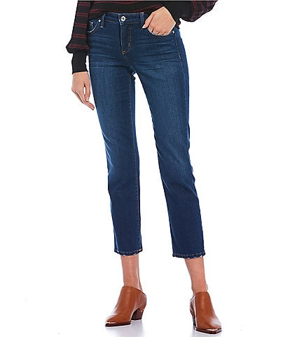 Jessica Simpson Arrow Mid Rise Raw Hem Straight Cropped Jeans
