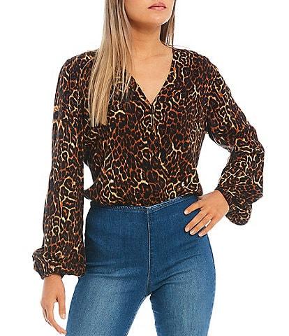 Jessica Simpson Arya Long Blouson Sleeve Leopard Print Bodysuit