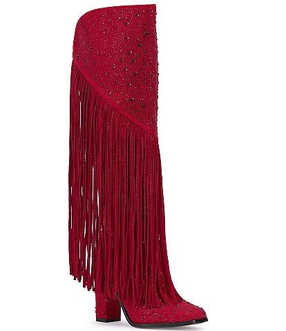 Jessica Simpson Asire2 Rhinestone Embellished Fringe Boots