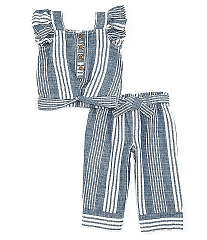Jessica Simpson Baby Girls 12-24 Months Flutter-Sleeve Striped Top & Belted Palazzo Pant Matching Set