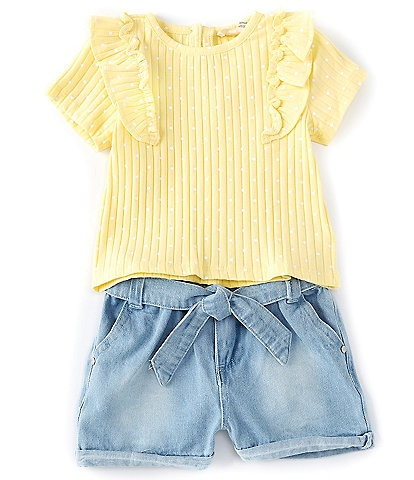 Jessica Simpson Baby Girls 12-24 Months Ruffle-Sleeve Dotted Knit Top & Denim Shorts Set