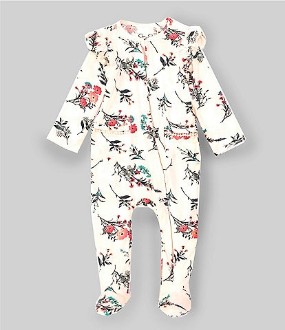 Jessica Simpson Baby Girls Newborn-9 Months Ruffle-Trim Floral Footed Coverall