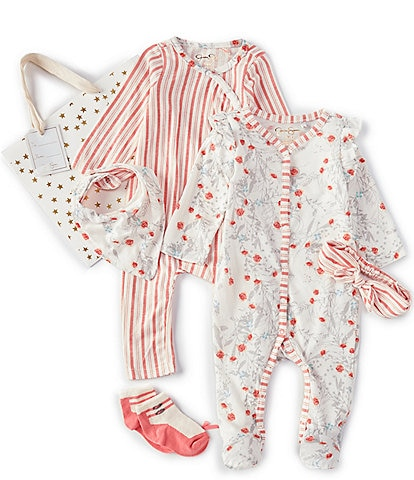 Jessica Simpson Baby Girls Newborn-9 Months Floral/Stripe Layette Set