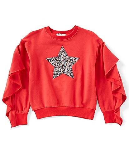 Jessica Simpson Big Girls 7-16 Julia Ruffle Star Fleece Top