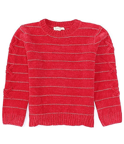 Jessica Simpson Big Girls 7-16 Lace-Up Long-Sleeve Ribbed Hem Striped Chenille Knit Cozy Sweater