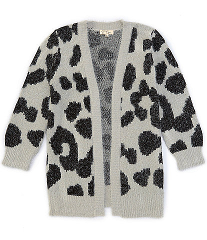 Jessica Simpson Big Girls 7-16 Leopard-Print Eyelash Cardigan