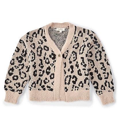 Jessica Simpson Big Girls 7-16 Long-Sleeve Leopard Fuzzy Knit Cardigan Sweater