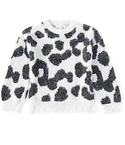 Jessica Simpson Big Girls 7-16 Long-Sleeve Leopard Print Fuzzy Knit Pull-Over Sweater