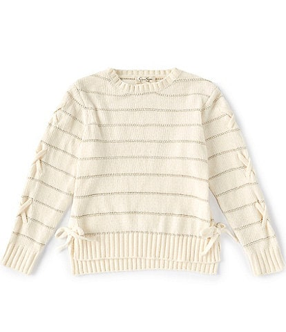 Jessica Simpson Big Girls 7-16 Long-Sleeve Lurex-Stripe Side Lace-Up Detail Chenille Sweater