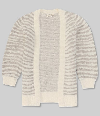 Jessica Simpson Big Girls 7-16 Long-Sleeve Striped Fuzzy Open-Front Cardigan