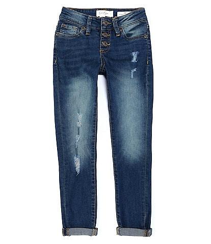 Jessica Simpson Big Girls 7-16 Mid-Rise Emma Destructed Skinny Jeans