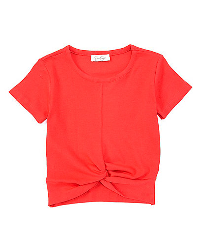 Jessica Simpson Big Girls 7-16 Short-Sleeve Ribbed Twist-Front Top