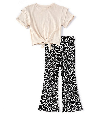 Jessica Simpson Big Girls 7-16 Short-Sleeve Tie-Front Tee & Printed Flare Pants Set