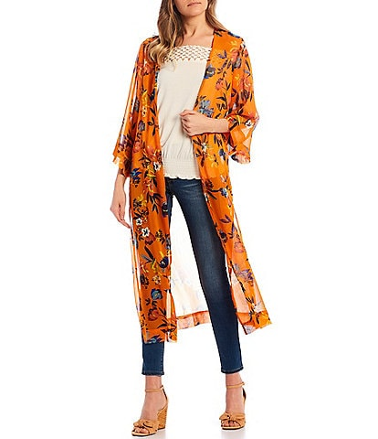 Jessica Simpson Blakely Floral Long Duster