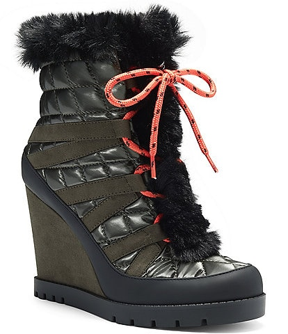 Jessica Simpson Brixel Quilted Faux Fur Trim Wedge Booties