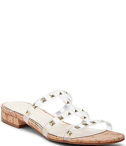 e2d350eceeea Jessica Simpson Caira2 Studded Clear   Cork Sandals